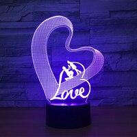 Love Heart LED 3D Night Light 3D Luminaria Acrylic 7 Color Change Romantic Atmosphere Lamp Valentine