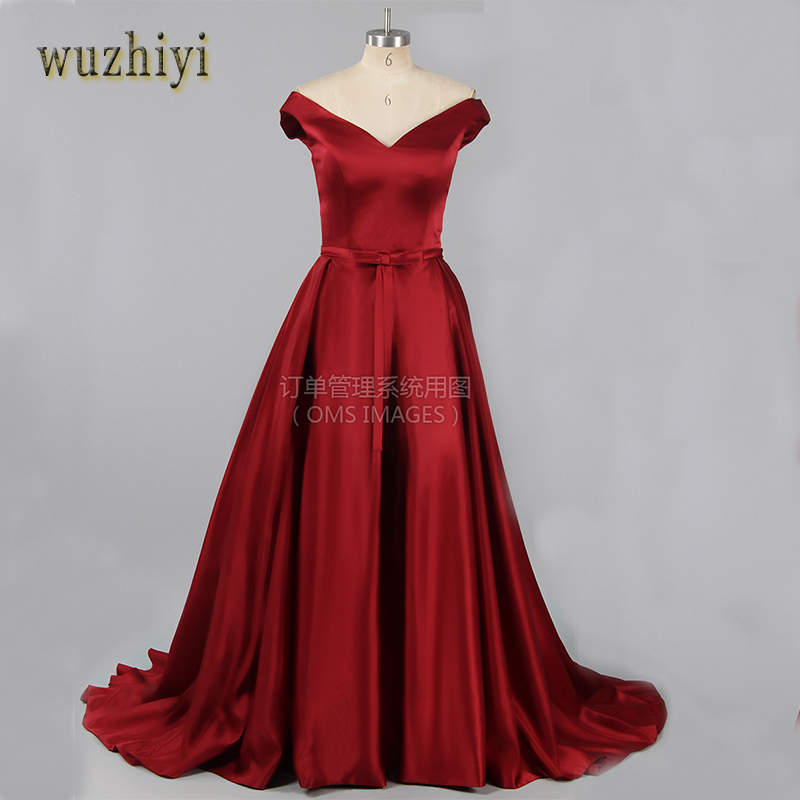 wuzhiyi Red  Sexy Satin Bridal Dress Lace-up Evening Gown Real Photo A-line Bow Formal Evening Dress 2017 With Off The Shoulder