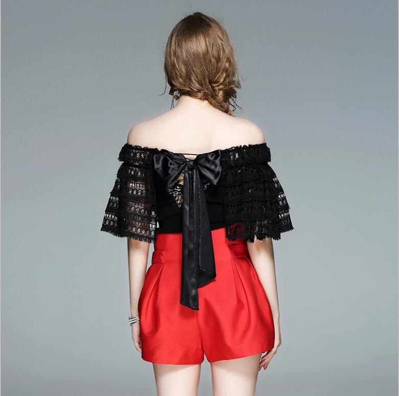 Manches Livraison Blanc New Épaule Vêtements Summer Sans Qualité Haute Blouse Noir Gratuite Chemise Off Femmes Aw736yifan4 5YqwfTYC