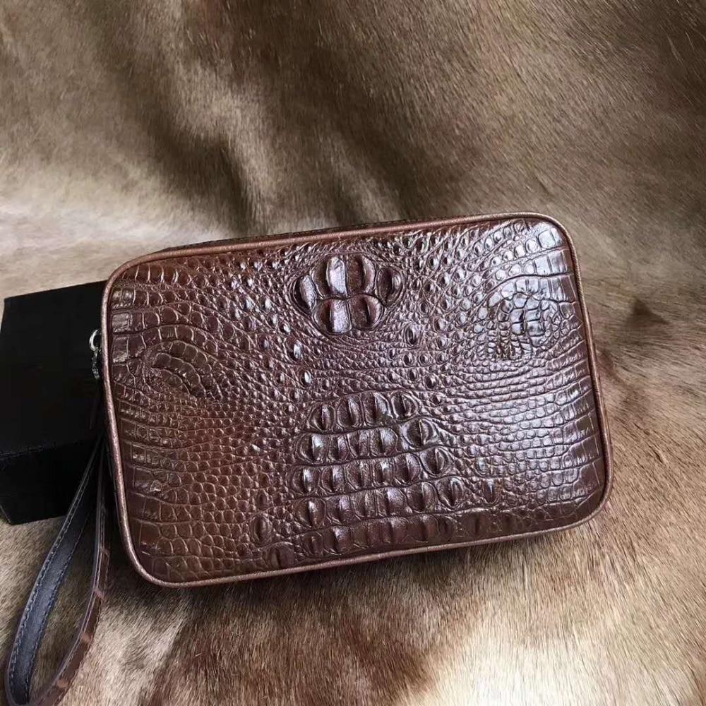 100% genuine crocodile leather head skin long size men clutch wallet purse bank card cash hoder case dark coffee brown color