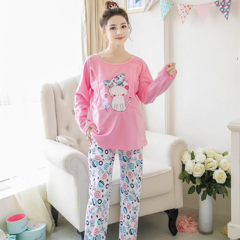 Spring and autumn Korean cartoon pajamas lactating pregnant women Home clothing maternal confinement long sleeved sleepwear