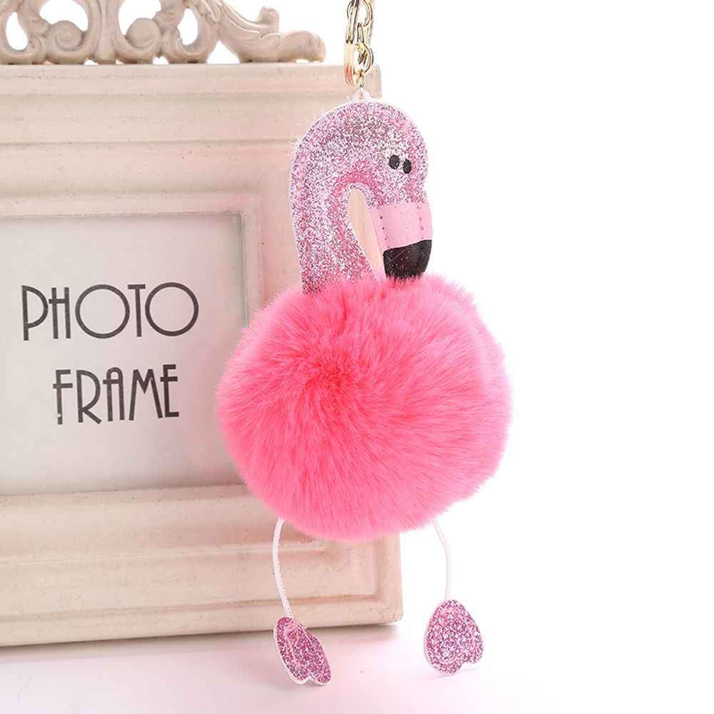 1pc Pompom Fluffy Cartoon Flamingo Plush Keychain Handbag Car Keyring Women Key Buckle Key Chains Jewelry  Artificial Faux Fur