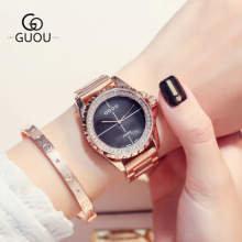 New Luxury GUOU Brand Rose Gold watch Women Rhinestone watches Fashion stainless steel quartz women waterproof Watch Relogio цена