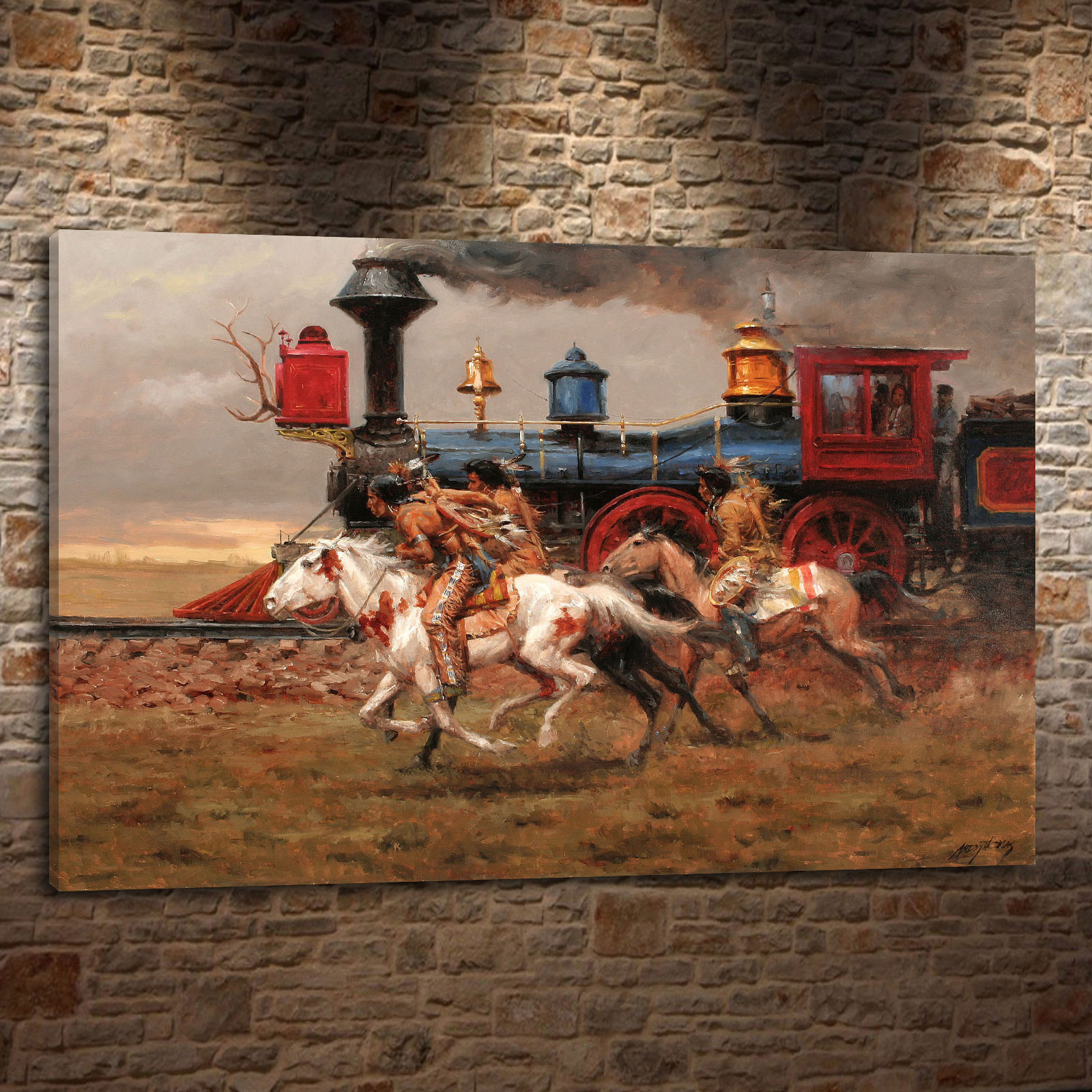 Andy thomas western landscape cowboy style gift canvas painting living room bedroom home decor modern wall art oil painting 053