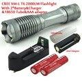 CREE XM-L T6 2000 Люмен 5 Режим СВЕТОДИОДНЫЙ Фонарик Увеличить T6 Свет (3 * AAA/1*18650) + 2*4000 Mah Батареи и зарядное устройство