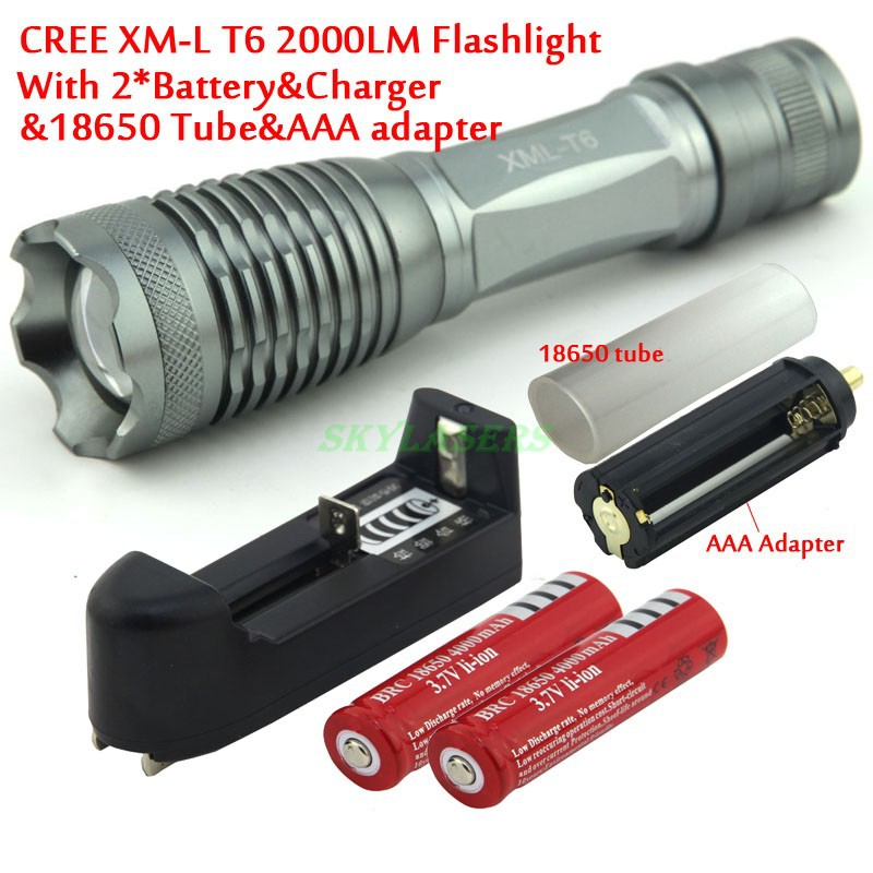 CREE XM-L T6 2000 Lumens 5 Mode LED Zoom Flashlight T6 Light (3 *AAA / 1 *18650)+ 2*4000 Mah Batteries & charger женские часы go girl only go 698649