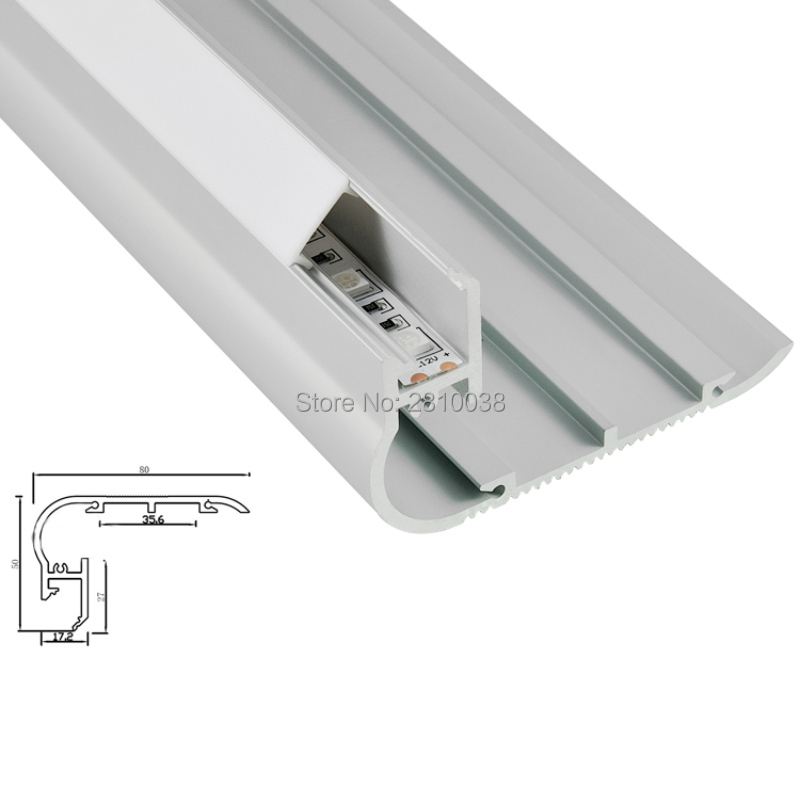 10 X 1M Sets/Lot Anodized stair type alu led profile and Extruded Al6063 Led light channel for step stairs lighting