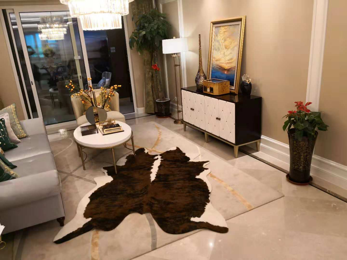 Animal Cow Print Rug Big Size Faux Cowhide Rug Non Slip Animal Printed Rug Cow Skin Area Rug Carpet For Home Office Living Room