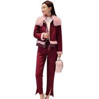 2018 весенние женские спортивный костюм Для женщин Большие размеры ягненка пальто + клеш комплект из двух предметов модные Повседневное комп