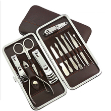 Stainless Steel Nail Clipper Nail Tools Kit Set 12 pcs/lot Pedicure Scissor Tweezers Knife Ear pick Tools Set  N-12 With PU Bag