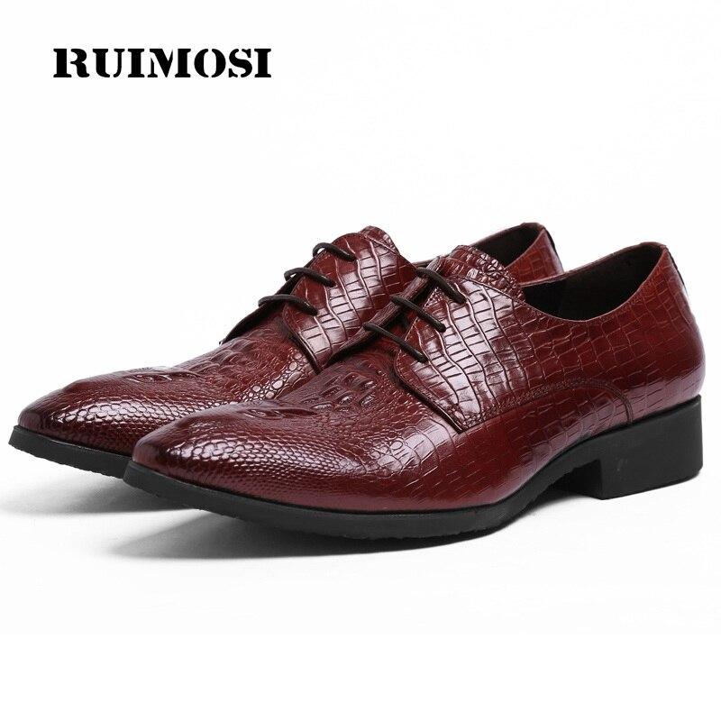 RUIMOSI Italian Style Pointed Toe Crocodile Man Formal Dress Shoes Genuine Leather Male Oxfords Men's Wedding Bridal Flats YD39