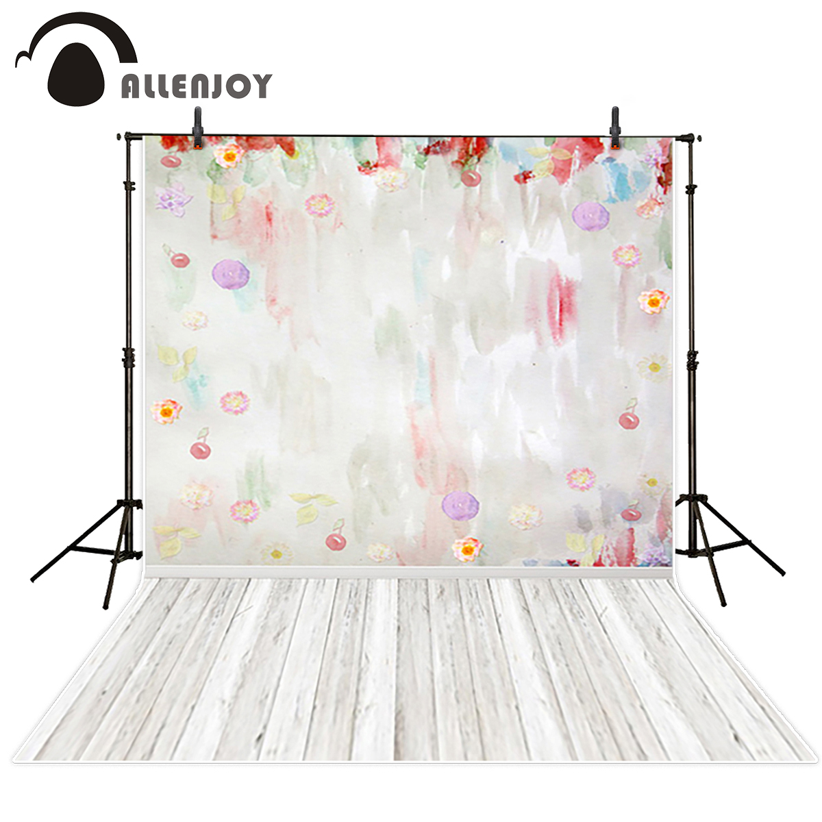 Allenjoy vinyl backdrops for photography Flowers Fantasy Red Oil painting with white wooden floor Background for taking photos