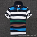 Men Polo Shirt 2016 New Men's Short Sleeve Polo Shirts Blue Striped Cotton Camisa Polo D1645