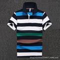 Men Polo Shirt 2016 New Men's Short Sleeve Polo Shirts Blue Striped Cotton Camisa Polo D1645