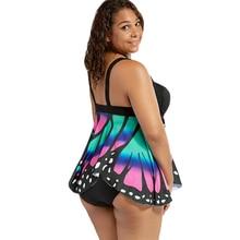 Butterfly Print Blouson Halter Tankini