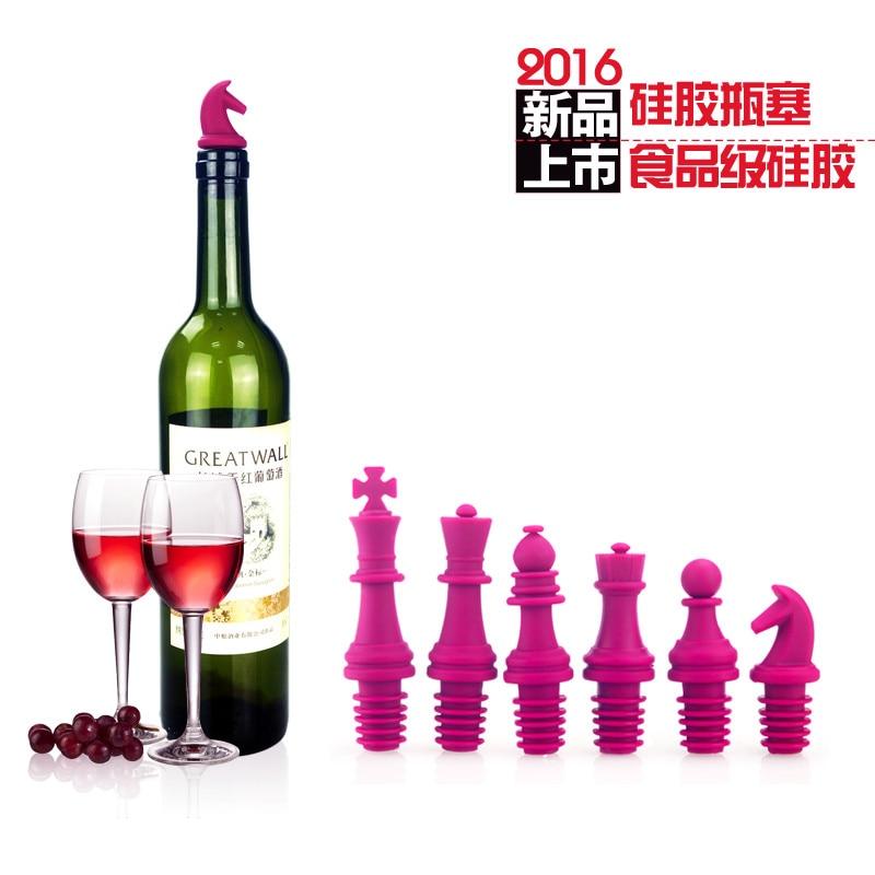 3D харчовий силіконовий шахматний винний пробка Набір пляшечок пробки творчий ущільнювач винна пробка 6 пакет 3D шаховий червоний пробка