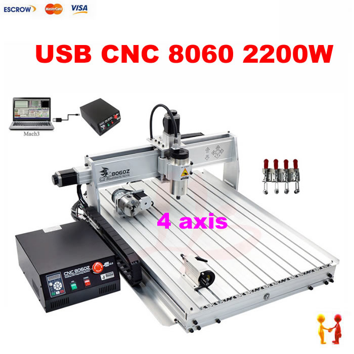 Best quality USB Mini CNC router 8060 2.2kw cnc machine with USB port , 4 axis cutting machine 6090 for metal wood aluminum  цены