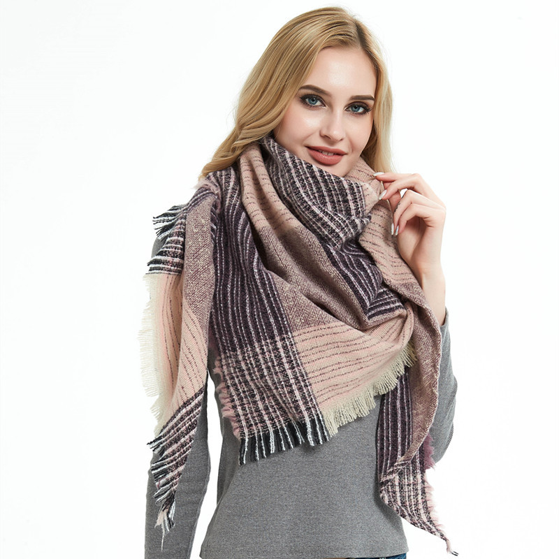 Popular Winter Scarf For Women Cashmere Scarf Female Warm Plaid Pashmina Triangle Scarf Blanket Wraps Scarves And Shawls(China)