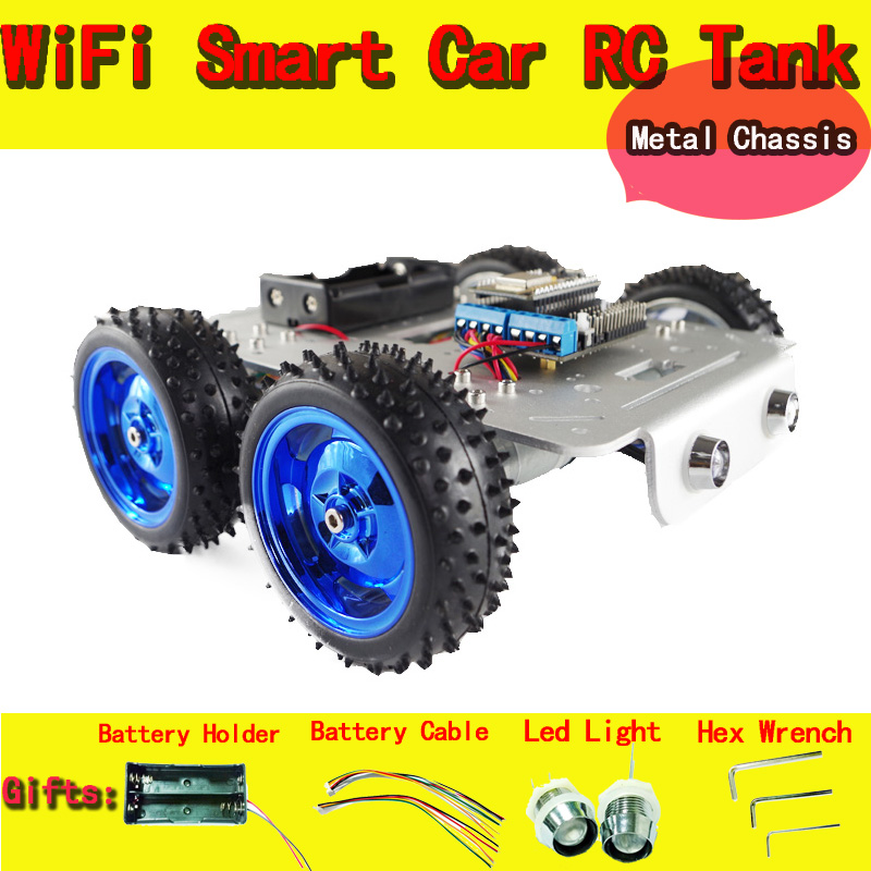 DOIT C300 WiFi RC Car Chassis with NodeMCU ESP8266 Board+Motor Drive Shield Board Kit by APP Phone DIY RC Toy Robot Model doit v3 new nodemcu based on esp 12f esp 12f from esp8266 serial wifi wireless module development board diy rc toy lua rc toy
