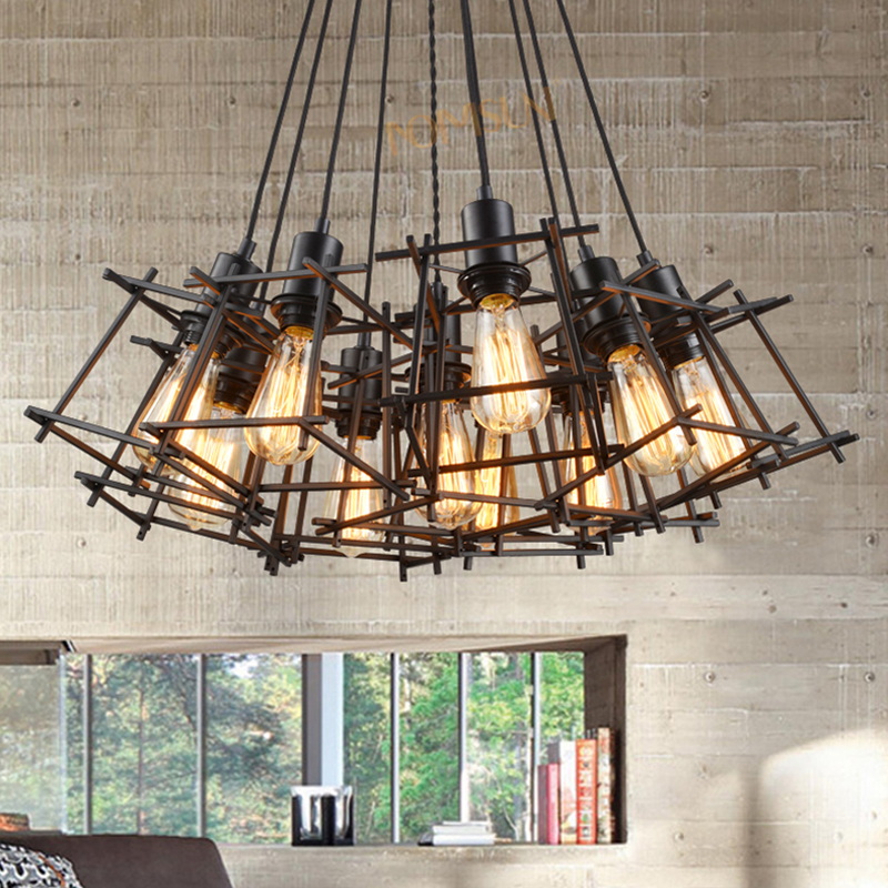 American Loft Vintage pendant light Personality Wrought Iron lights Edison nordic lamp industrial cage lamp lighting fixtures loft lamp vintage pendant lights wrought iron cage pendant warehouse light fixture black lamp