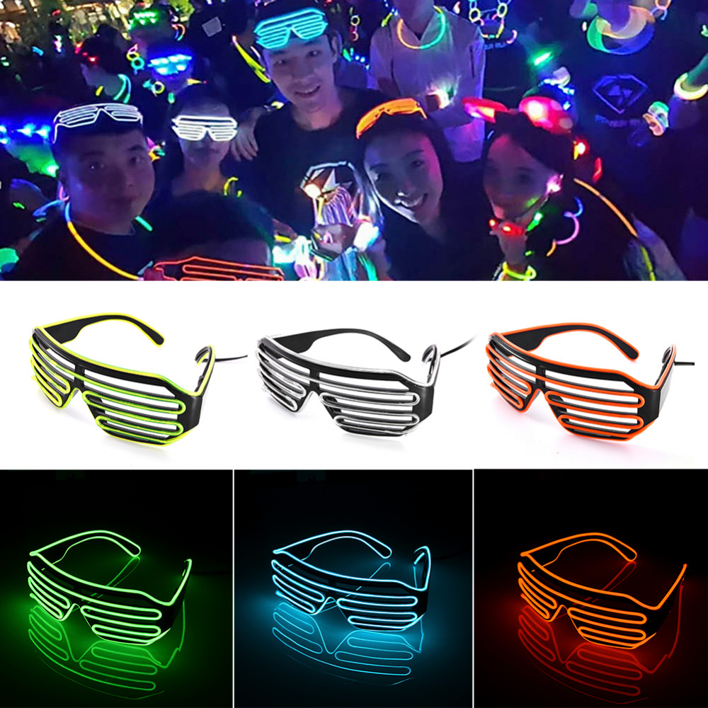 Flaring Glasses Bar Party Fluorescent Dance DJ Bright Glasses EL Wire Fashion Neon LED Light Glow Rave Atmosphere Activing Props