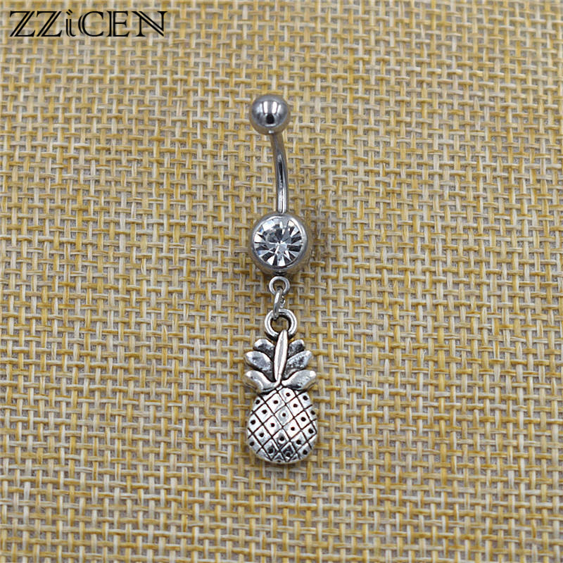 Fashion Summer Hawaii Bikini Beach Fruit Pineapple Pendant Belly Bar Piercing Ombligo Crystal Navel Button Rings Body Jewelry|Body Jewelry| - AliExpress