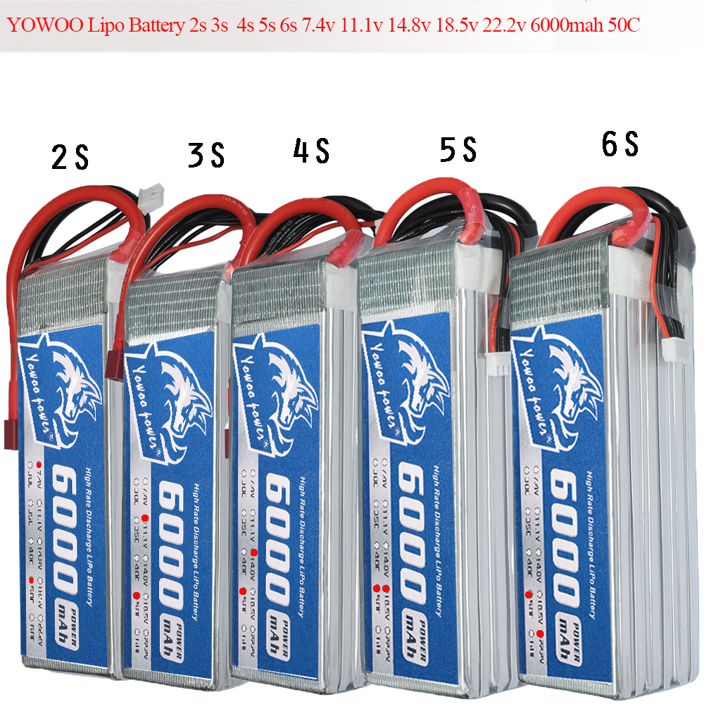 RC Lipo 6000mAh Battery 2S 3S 4S 5S 6S 7.4V 11.1V 14.8V 18.5V 22.2V 50C 100C for Traxxas Car Multicopter Quadcopter FPV S500 yowoo fpv 450 500 akku lipo battery 2s 3s 7 4v 11 1v 5000mah 50c max 100c for traxxas helicopter fpv 450 airplane quadcopter car