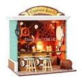 C004 diy caixa de armazenamento de madeira casa de boneca de mini bar em miniatura dollhouse Europeia pequena loja de Voz LEVOU frete grátis