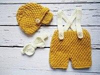 送料無料新生児帽子かぎ針編み赤ちゃんキャスケットキャップ弓ネクタイでマッチングパンツベビーセット赤ちゃんビーニー新生児写真撮影の小道