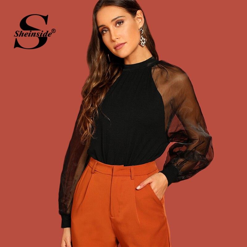 Sheinside Black Mock Neck Top With Sheer Organza Sleeve Women Elegant Party Blouse 2019 Ladies Tops Long Sleeve Blouses Shirts