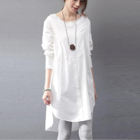 ZANZEA Autumn Spring Mini Dress Women New Long Sleeve Round Neck Irregular Hem Loose Casual Party