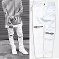 2016 nuevo ripped jeans para hombres Apenada flaco delgado famosos marca diseñador biker hip hop cremallera blanco negro slim fit pantalones vaqueros