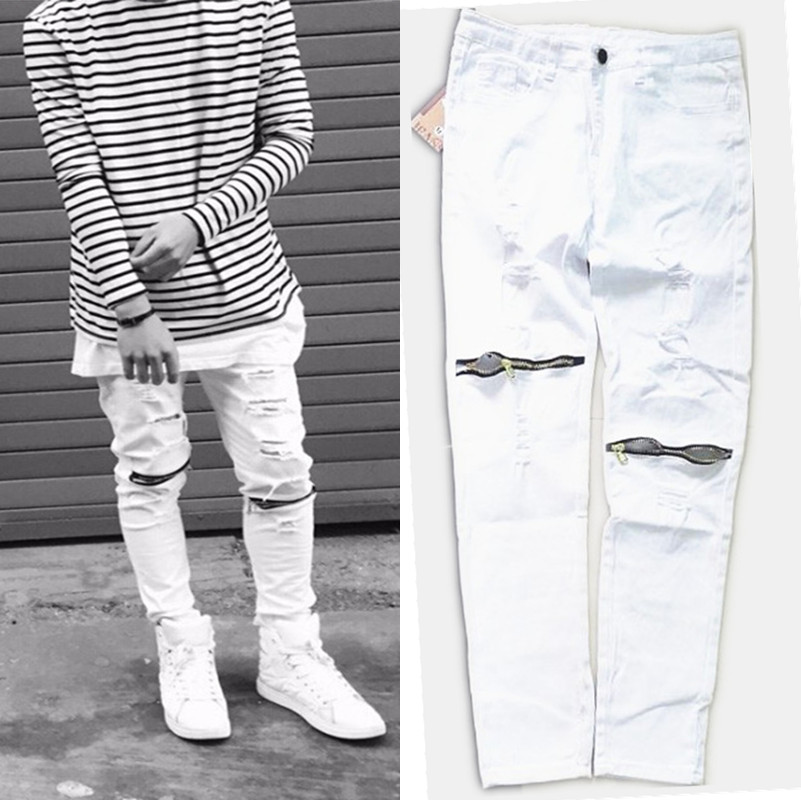 NEW new ripped jeans for men skinny Distressed slim famous brand designer biker hip hop zipper white black slim fit  jeans 2017 fashion patch jeans men slim straight denim jeans ripped trousers new famous brand biker jeans logo mens zipper jeans 604