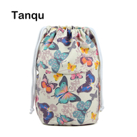 Tanqu New Floral Canvas Fabric Inner Lining Insert Beam Pocket For O Bucket O Basket Obag