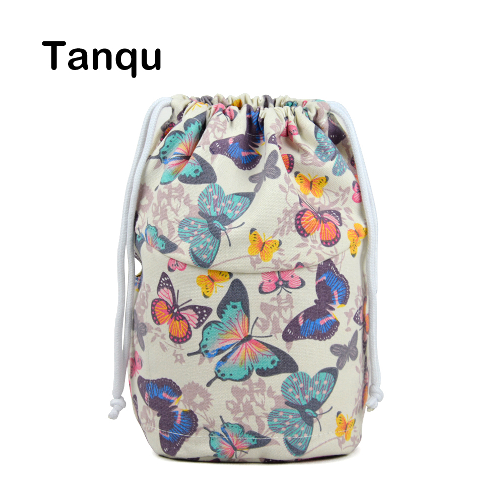 Tanqu New Drawstring Canvas Fabric Inner Pocket Lining for Obasket Obag Handbag Insert for O Basket O Bag tanqu floral waterproof canvas fabric inner pocket lining for omoon light obag handbag insert organizer for o moon baby o bag