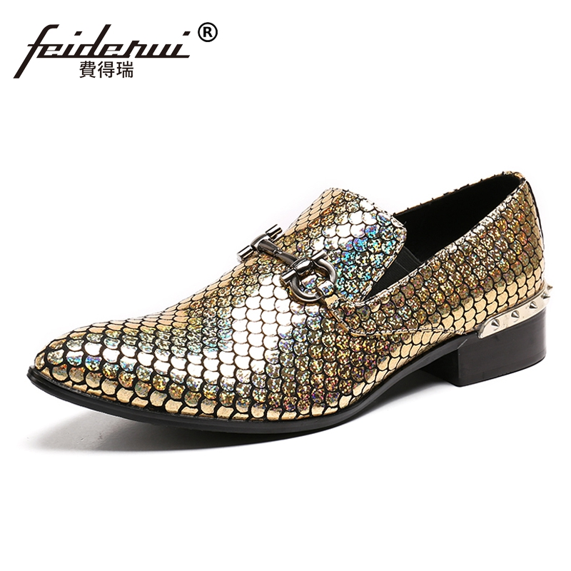 Plus Size Pointed Toe Slip on Man Glitter Punk Loafers Luxury Genuine Leather Studded Wedding Party Men's Runway Shoes SL31 plus size pointed toe slip on man glitter punk loafers luxury genuine leather studded wedding party men s runway shoes sl31