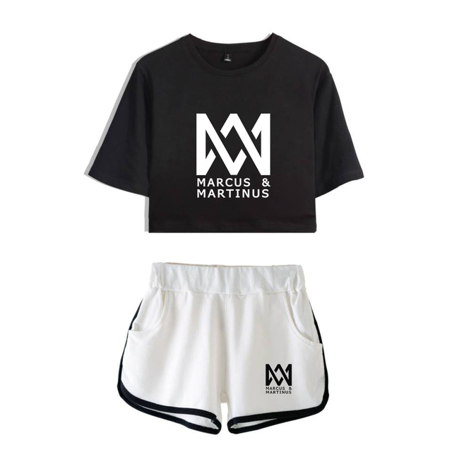 646e57aecf9 New Fashion Marcus and Martinus Short Sleeve Printed Crop Top + Shorts  Sweat Suits Women Tracksuits
