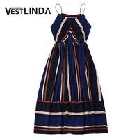VESTLINDA Multi Striped Dress Women Summer Sundress 2017 Elastic Waist Spaghetti Strap Midi Vestidos Mujer Sexy
