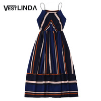 VESTLINDA Multi Striped Dress Women Summer Sundress 2017 Elastic Waist Spaghetti Strap Midi Vestidos Mujer Sexy