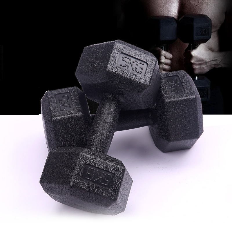 Mens household only 2.5KG, 5KG plastic package hexagonal dumbbells fitness equipment ...