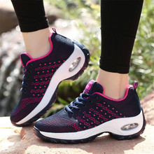 Spring new flying woven mesh rocking shoes thick bottom breathable lightweight wild lace-up casual womens