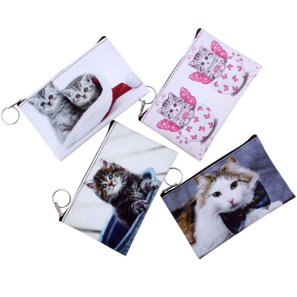 Novo Gato Bonito Coin Purse Crianças gatinho carteira de embreagem Mulheres de mini Carteira zipper Saco dos desenhos animados Bolsa Titular bolsa da mudança do Sexo Feminino carteira
