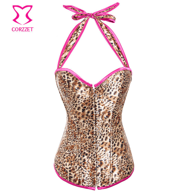 Sexy Brown Leopard Satin Halter Espartilhos   Corset   Corselet Ovebust   Bustier   Burlesque Korsett For Women Waist Trainer   Corsets