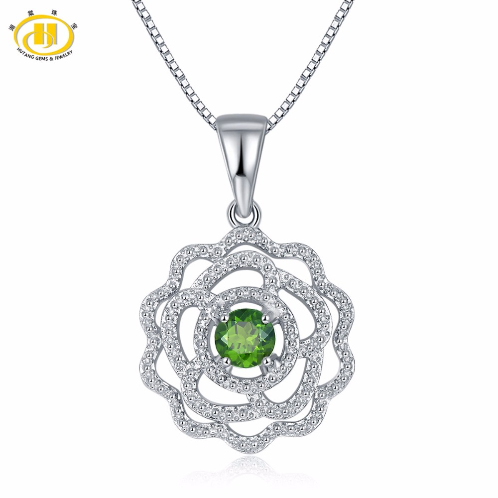 Hutang 0.53ct Natural Gemstone Chrome Diopside Solid 925 Sterling Silver Pendant & Necklace Fine Jewelry For Women