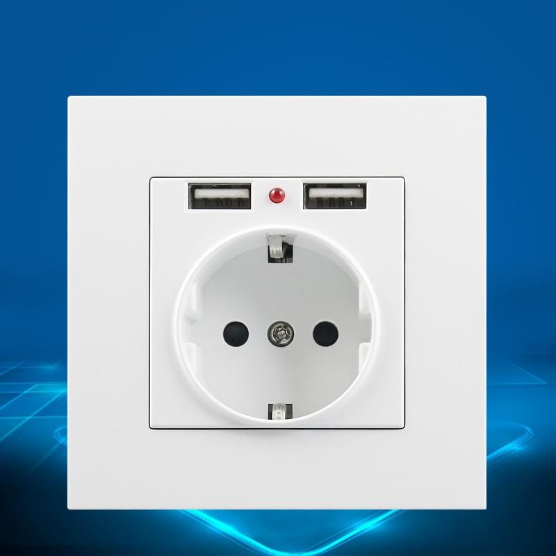 Hot new wall socket usb eu plug Charger 16A 250V kitchen plug sockets Electrical Outlet USB Power Socket Panel цена