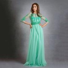 Modest Mint Grün Drei Viertel ärmeln abendkleider A-Line Perlen Lange Prom Kleider Saudi-arabien Kaftan Vestido De festa