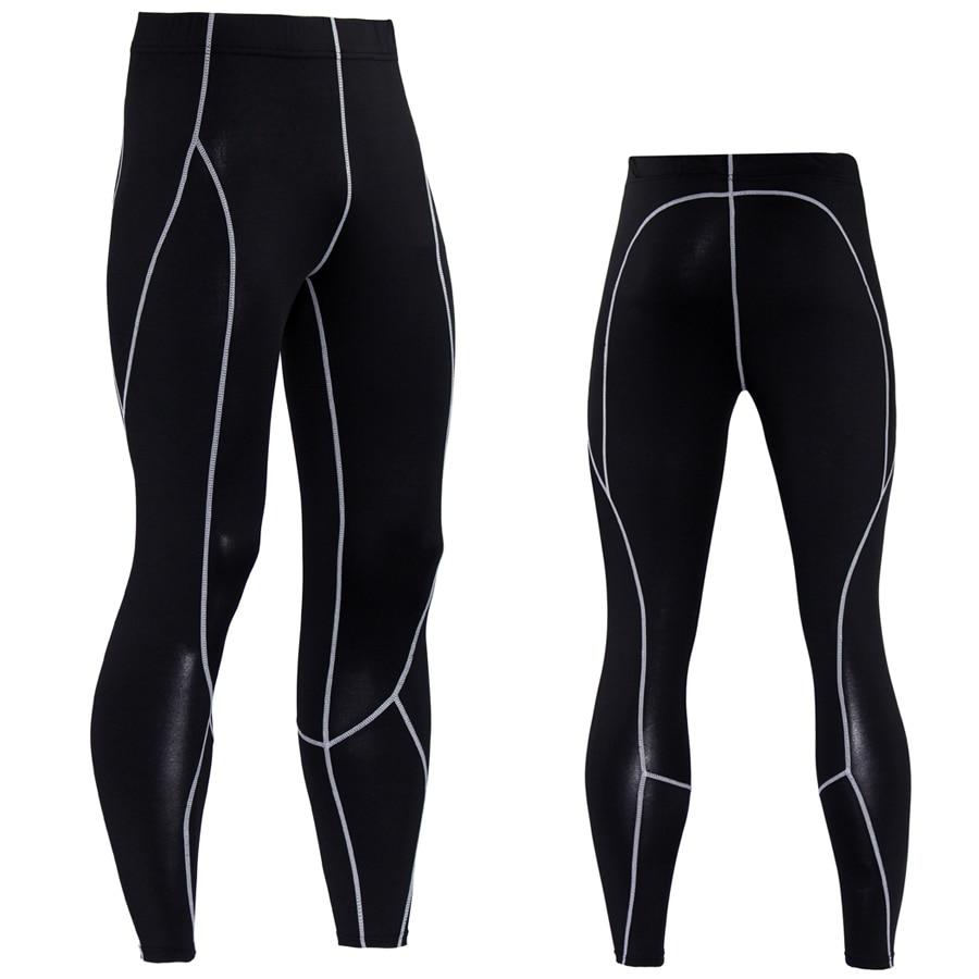 Men Compression Pants Solid Spliced Skinny Leggings  1