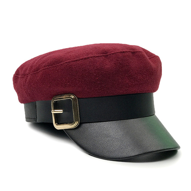 8856081f206 Fashion Brand Female Beret Hat Girls Solid Red Caps Belet PU Women Winter  Hats Ladies Black
