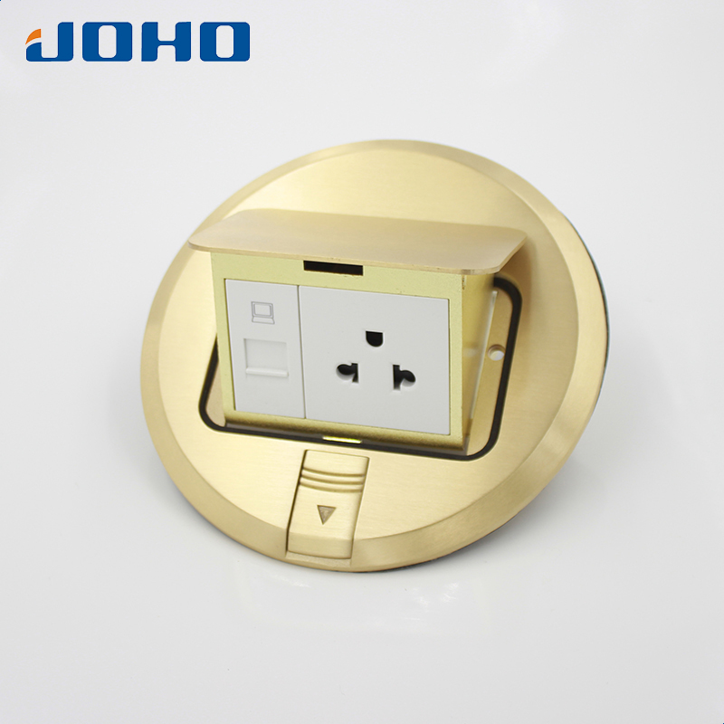 Brass Material Round type Slow pop round socket with rj45 socket 15A US outlet brass slow pop up floor socket box with 15a 125v us socket rj45 computer data