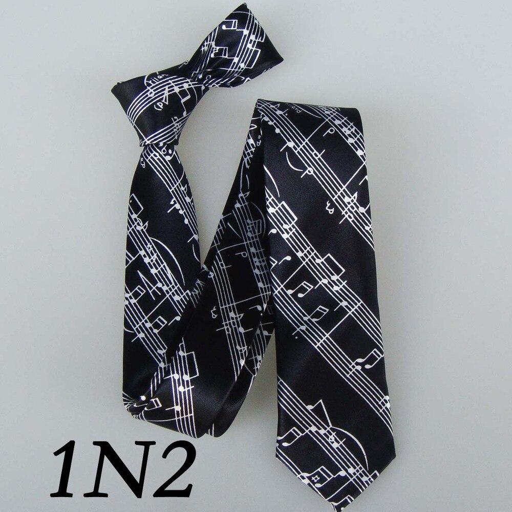 Sheet Music Ties Skinny 5cm Thin Tie Black With White Musical Notation Neckties Polyester Gravatas Slim Men New Sheet Music Ties